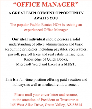 Office Manager, Pueblo Estates HOA, Green Valley, AZ