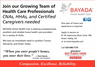 CNAs, HHAs, and Certified Caregivers Needed