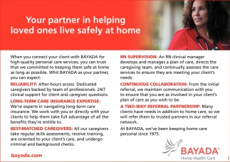Your Partner in Helping Loved Ones Live Safely at Home