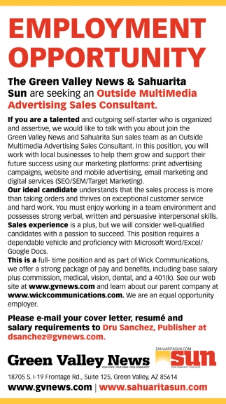 Outside Multimedia Advertising Sales Consultant