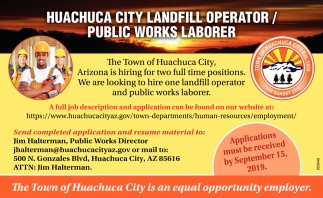 Landfill Operator Wanted/ Public Works Laborer