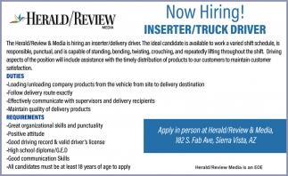 Inserter/Truck Driver
