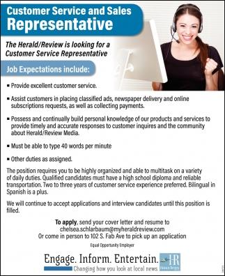 Customer Service & Sales Representative