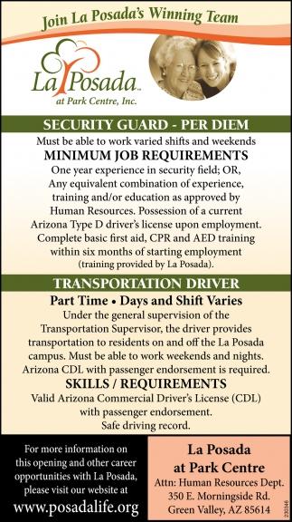 Security Guard & Transportation Driver