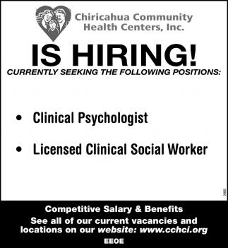 Chiricahua Community Health Centers is Hiring!