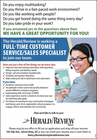 Full-Time Customer Service/ Sales Specialist
